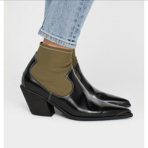 Free People Jackson West Booties Green and Black